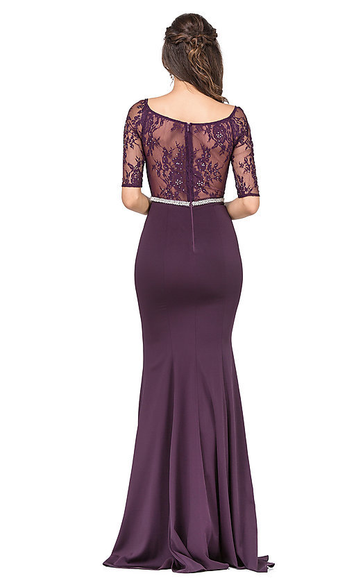 Image of long formal lace-bodice prom dress with sleeves. Style: DQ-2201 Detail Image 4