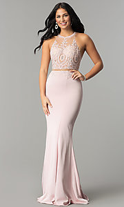 Image of mock-two-piece high-neck prom dress. Style: DQ-2162 Detail Image 1