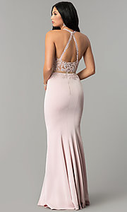 Image of mock-two-piece high-neck prom dress. Style: DQ-2162 Back Image