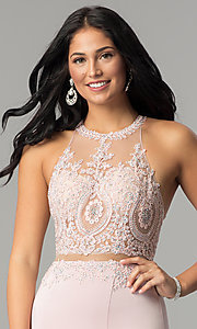 Image of mock-two-piece high-neck prom dress. Style: DQ-2162 Detail Image 2