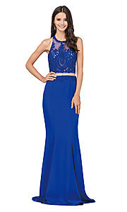 Image of mock-two-piece high-neck prom dress. Style: DQ-2162 Front Image