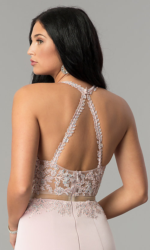 Image of mock-two-piece high-neck prom dress. Style: DQ-2162 Detail Image 3
