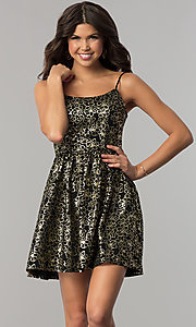 Image of short black holiday party dress with gold print. Style: EM-FFN-3201-030 Front Image