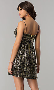 Image of short black holiday party dress with gold print. Style: EM-FFN-3201-030 Back Image