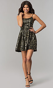 Image of short black holiday party dress with gold print. Style: EM-FFN-3201-030 Detail Image 3