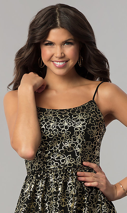 Image of short black holiday party dress with gold print. Style: EM-FFN-3201-030 Detail Image 1