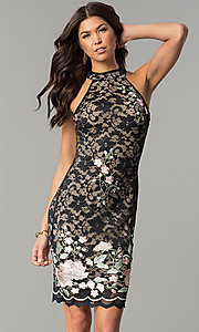 Image of black lace short party dress with rose embroidery. Style: EM-DZU-3414-022 Front Image