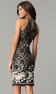 Image of black lace short party dress with rose embroidery. Style: EM-DZU-3414-022 Back Image