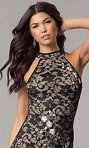 Image of black lace short party dress with rose embroidery. Style: EM-DZU-3414-022 Detail Image 1