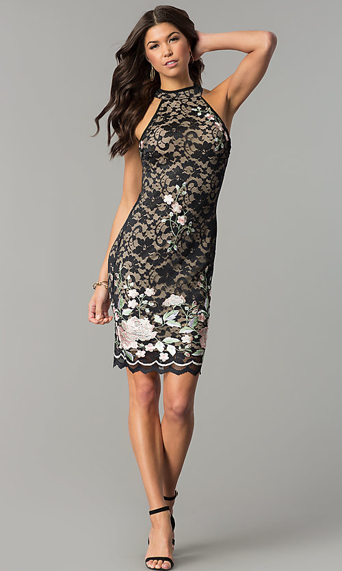 Image of black lace short party dress with rose embroidery. Style: EM-DZU-3414-022 Detail Image 2