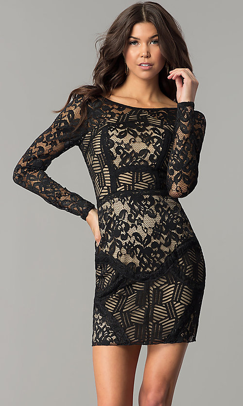Image of patchwork-lace long-sleeve short black party dress.  Style: EM-FJX-1446-018 Front Image