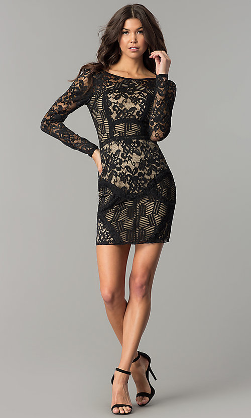 Image of patchwork-lace long-sleeve short black party dress.  Style: EM-FJX-1446-018 Detail Image 2