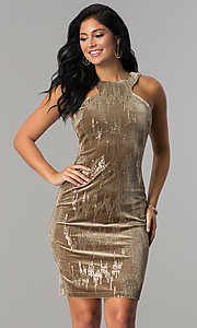 Image of short velvet tan holiday party dress with sequins. Style: EM-FJK-3215-230 Front Image