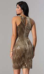 Image of short velvet tan holiday party dress with sequins. Style: EM-FJK-3215-230 Back Image