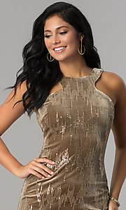 Image of short velvet tan holiday party dress with sequins. Style: EM-FJK-3215-230 Detail Image 1