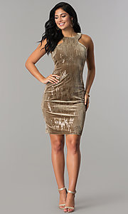 Image of short velvet tan holiday party dress with sequins. Style: EM-FJK-3215-230 Detail Image 2
