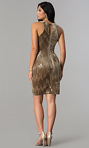 Image of short velvet tan holiday party dress with sequins. Style: EM-FJK-3215-230 Detail Image 3