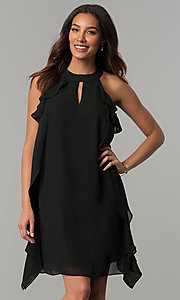 Image of short black chiffon wedding-guest dress with ruffles. Style: JU-TI-T0645 Front Image