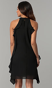 Image of short black chiffon wedding-guest dress with ruffles. Style: JU-TI-T0645 Back Image