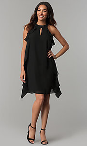 Image of short black chiffon wedding-guest dress with ruffles. Style: JU-TI-T0645 Detail Image 2