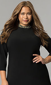 Image of black plus-size short party dress with sleeves. Style: JU-TI-T90544 Detail Image 1