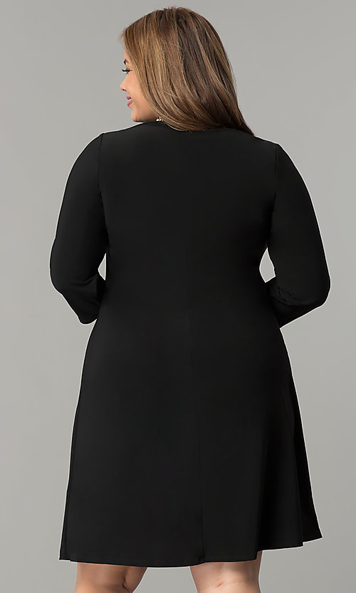 Image of black plus-size short party dress with sleeves. Style: JU-TI-T90544 Back Image