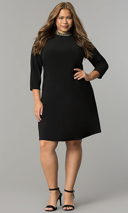 Image of black plus-size short party dress with sleeves. Style: JU-TI-T90544 Detail Image 2