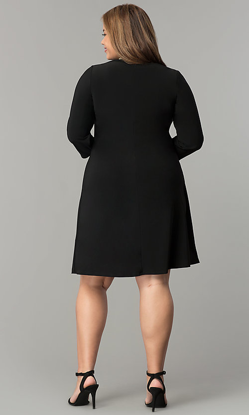 Image of black plus-size short party dress with sleeves. Style: JU-TI-T90544 Detail Image 3