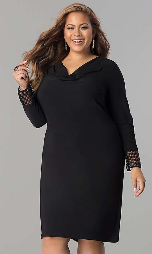Image of plus-size short black long-sleeve party dress. Style: JU-TI-899027 Front Image