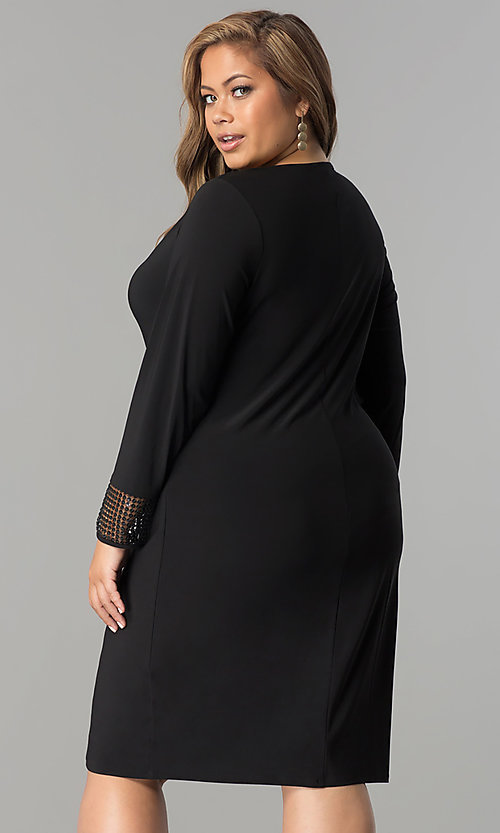 Image of plus-size short black long-sleeve party dress. Style: JU-TI-899027 Back Image