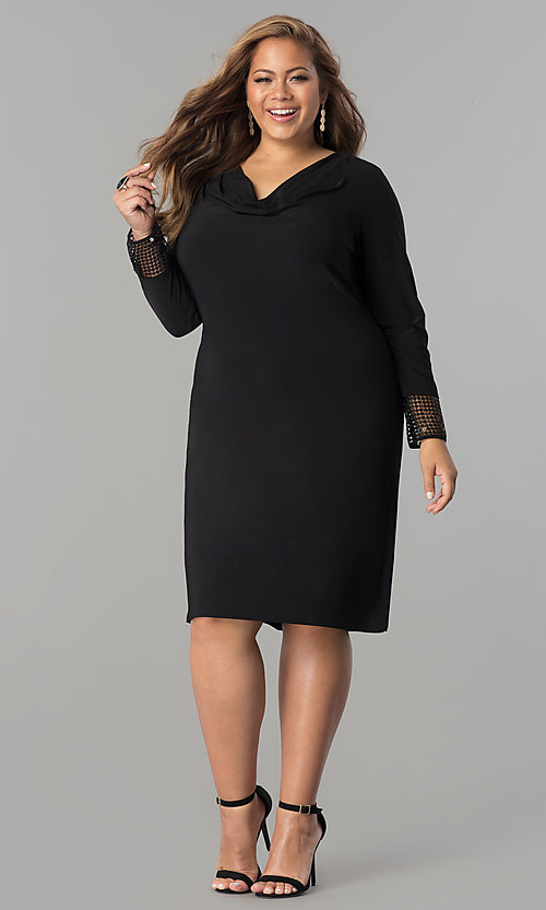 Plus-Size Short Black Long-Sleeve Party Dress