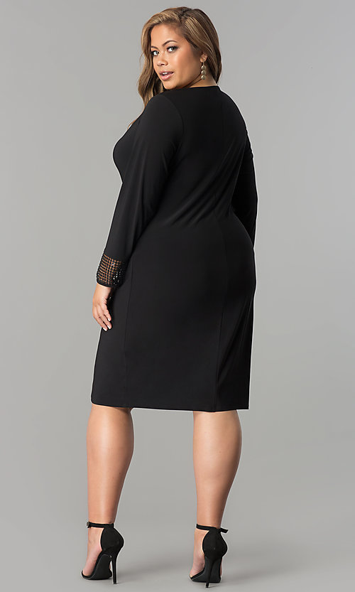 Image of plus-size short black long-sleeve party dress. Style: JU-TI-899027 Detail Image 2