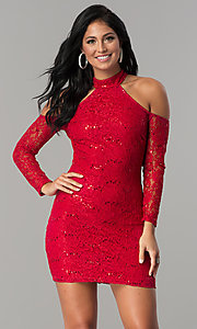 Image of sleeved cold-shoulder short sequin-lace party dress.  Style: MCR-2452 Front Image