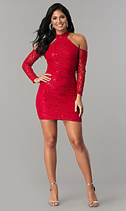 Image of sleeved cold-shoulder short sequin-lace party dress.  Style: MCR-2452 Detail Image 1