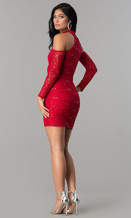 Image of sleeved cold-shoulder short sequin-lace party dress.  Style: MCR-2452 Detail Image 2
