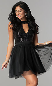 Image of short homecoming party dress with sequin bodice.  Style: MCR-2460 Detail Image 2