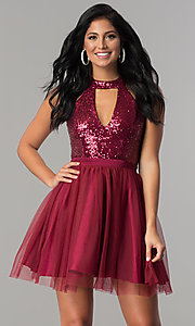 Image of short homecoming party dress with sequin bodice.  Style: MCR-2460 Front Image