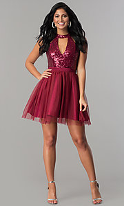 Image of short homecoming party dress with sequin bodice.  Style: MCR-2460 Detail Image 1