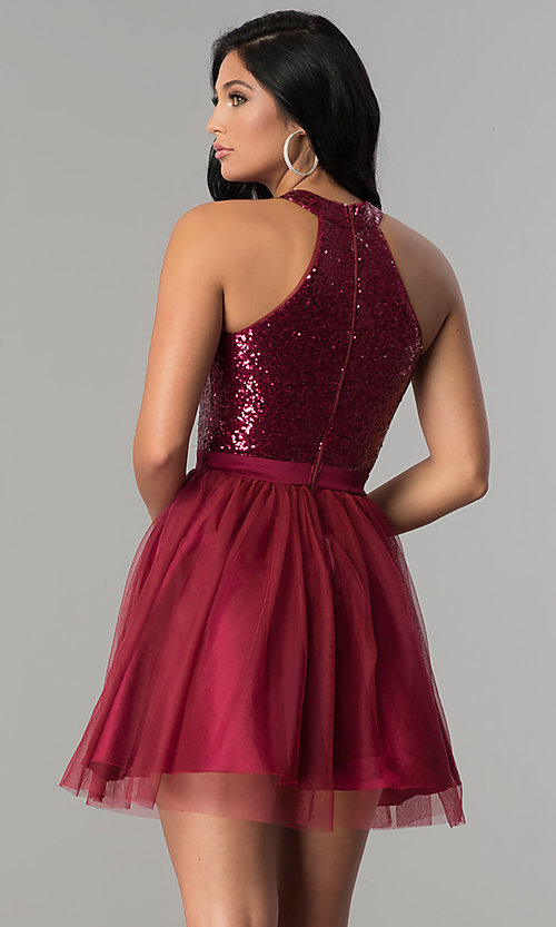 Image of short homecoming party dress with sequin bodice.  Style: MCR-2460 Back Image