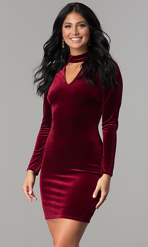 Image of short velvet burgundy party dress with long sleeves. Style: MCR-2454 Front Image