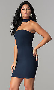 Image of navy blue short racerback party dress with choker. Style: MCR-2453 Front Image