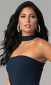 Image of navy blue short racerback party dress with choker. Style: MCR-2453 Detail Image 1