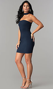 Image of navy blue short racerback party dress with choker. Style: MCR-2453 Detail Image 2