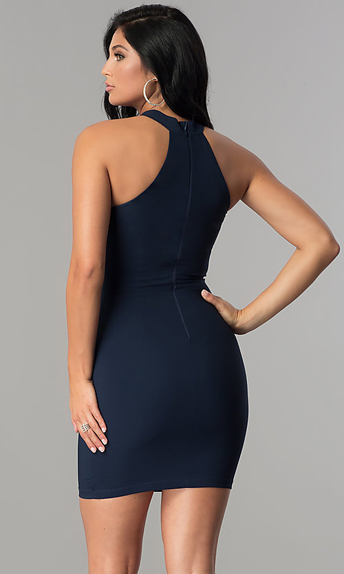 Image of navy blue short racerback party dress with choker. Style: MCR-2453 Back Image