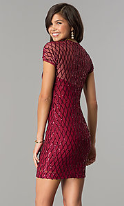 Image of sequin short cocktail party dress with sleeves. Style: MCR-2456 Back Image