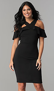 Image of short black party dress with cold-shoulder ruffle. Style: MCR-2465 Front Image