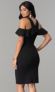 Image of short black party dress with cold-shoulder ruffle. Style: MCR-2465 Back Image