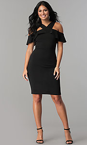 Image of short black party dress with cold-shoulder ruffle. Style: MCR-2465 Detail Image 2