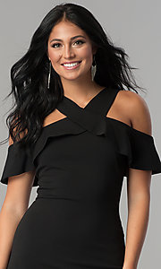 Image of short black party dress with cold-shoulder ruffle. Style: MCR-2465 Detail Image 1
