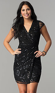 Image of short sequin mock-wrap wedding-guest party dress. Style: VE-628-213925 Detail Image 2